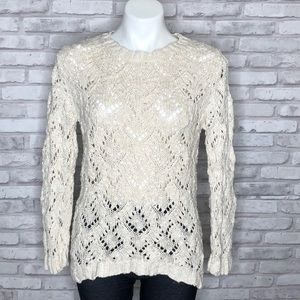 WDNY cream knit sweater, medium